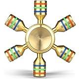 Hand Spinner Hand Fidget Spinner Toy, Kungber personnalisable 6 côtés Premium Brass Spinner qualité de luxe stabilisant la mise au point silencieuse et réduisent le stress