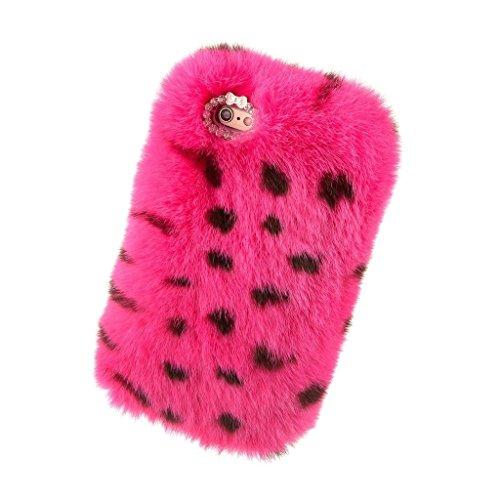 youmai 3D Coque de protection pour Apple iPhone 6/6S Plus, chaude et douce en fausse fourrure, Sertie de Cristal et chaîne et petit nœud Leopardenmuster (pinkfarben)
