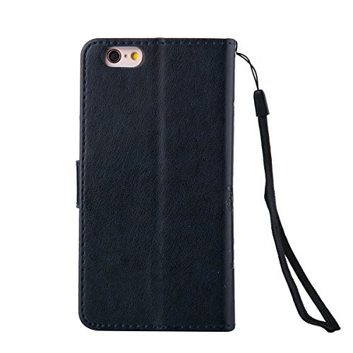 iPhone 6 Hülle Case,iPhone 6S Hülle Case,Gift_Source [Card Slot] [Kickstand Feature] Magnetic Closure PU Leder Blume Schmetterling Embossed Brieftasche Hülle Case Folio Flip Hülle Case mit Strap für i E01-06-Navy