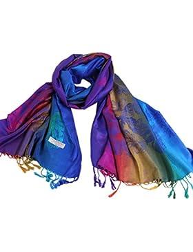 NOVAWO Colorido especial del arco iris de la mariposa de la Mujer Imprimir bufanda del mantón del abrigo