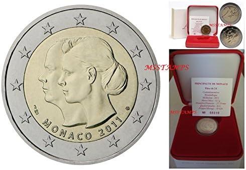 monaco 2011 Stgl./unzirkuliert édition: 88.057 Fleur de de de coin (FDC) 2011 2 euro mariage de prince albert ii (Coins pour les collectionneurs) 26d346