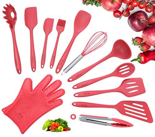 Küchenutensilien Set, 12-teilig Komplette Silikon Backen & Kochen Küche Tools, Kochgeschirr, Küchenhelfer - Rot -