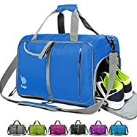 bago Gym Bags for Women and Men - Small Packable Sports Duffle Bag for Women with Shoe Compartment and Wet Pocket (40 Liter Blue)