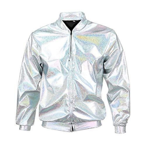 BFD Bomberjacke für Herren und Damen, metallisch, glänzend, leicht, Slim Fit Gr. Medium/Large, Silber (Zip Blazer Front)