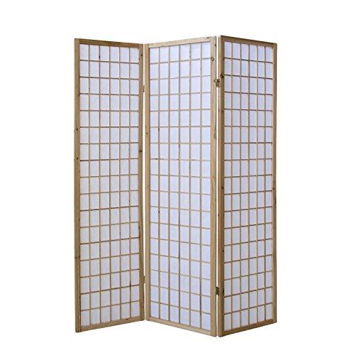 Homestyle4u 68, Paravent Raumteiler 3 teilig, Holz Natur, Reispapier Weiß, Höhe 175 cm -