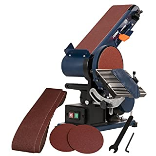FERM Bench Sander - 375W - 150mm - Adjustable sanding belt - Angle Guide and Adjustable Working Table - With 2 Sanding Belts (P80&P120) and 2 Sanding Discs (P80&P120)