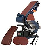 FERM BGM1003 Bench Sander 375W, 150mm, Adjustable sanding belt, Angle Guide and Adjustable Working Table With 2 Sanding Belts and 2 Sanding Discs, Blue