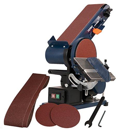 FERM Levigatrice inclinabile a nastro e disco 375W - Incl. 2 nastri abrasivi, 2 dischi abrasivi