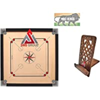 AES Group Large Full Size 32 Inch Wood Round Pocket Carrom Board with Carrom Coins Set, Striker, Powder and Brown Color…