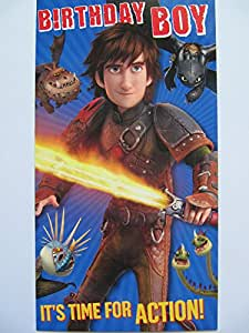 FANTASTIC COLOURFUL HOW TO TRAIN YOUR DRAGON 2 HICCUP & DRAGONS BIRTHDAY GREETING CARD