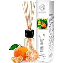 Diffusore di profumo per ambiente di mandarino 100 ml, con 8 bastoncini di bambù, olio essenziale naturale, fragranze naturali intenso e duraturo, alcool 0%, profumo in camera per aromatizzare l'aria interiore per la camera, diffusori a lamella, diffusore a lamella di fragranza, la cucina, il bagno, la casa, l'ufficio, aromaterapia, ottimo per aromi naturali, rinfrescante, in vetro, da AROMATIKA