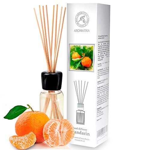Parfum d'ambiance Mandarine à l'huile naturelle de mandarine, essentielle naturelle / 100 ml / intensive / Fragrance fraîche et durable / Diffuseur Reed Scented / 0% Alcool / Kit diffuseur cadeau avec 8 bâtons de bambou est le meilleur pour Aromathérapie / SPA / Accueil / Cuisine / Bain / Bureau / Club de remise en forme / Restaurant / Boutique / Ambulateurs à air ambiant / Bouteille en verre / d'AROMATIKA