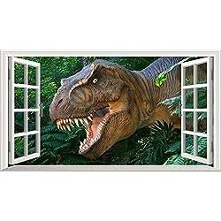 Dinosaurios 3d V004magia ventana pared adhesivo adhesivo póster de pared Arte Tamaño 1000mm de ancho x 600mm de profundidad (tamaño grande)