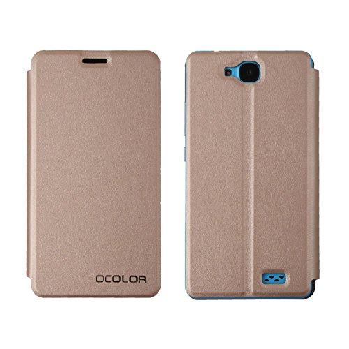 Guran® PU Leder Tasche Etui für Oukitel C3 Smartphone (Keine Innenschale) Flip Cover Stand Hülle Case-gold