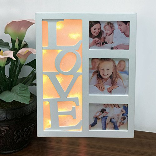 Marco para varias fotos con luz LED de Sentik®, 10 luces LED color blanco cálido para el hogar con texto «Family/Home/Love», regalo de Navidad , Love