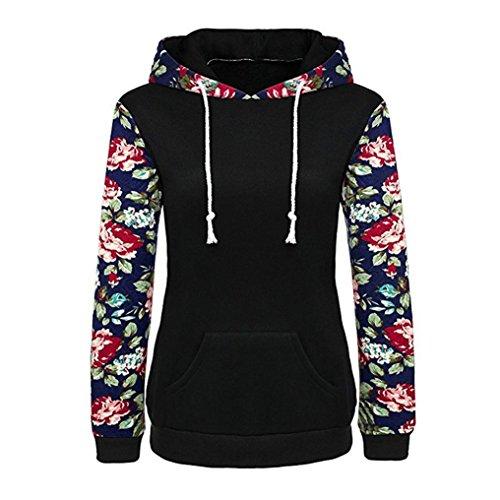 OVERDOSE Damen Lässige Blumen Splice-Streifen Druck Rundhalsausschnitt Pullover Bluse Tops T-Shirt (S, B-Kapuzepulli-2)