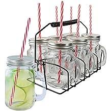 bocal en verre avec couvercle et paille. Black Bedroom Furniture Sets. Home Design Ideas