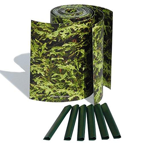 M-tec Print ® Bedruckte PVC Zaunstreifen Thuja Hecke: Sichtschutzstreifen für 9 Reihen im Zaunfeld. inkl. 18 Klemmschienen – SIE KAUFEN Hier DIREKT BEIM Hersteller –
