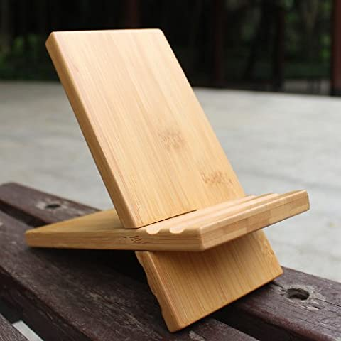 eimo Natural wood Bamboo hard Panel stand for iPhone,iPad,SamSung mobile phone,Tablet PCs, eReaders, Artwork and more (wood)