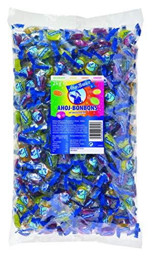 Ahoj-Brause Ahoj-Bonbons Beutel - Ahoj-Bonbons mit Brausefüllung - 4 verschiedene Geschmacksrichtungen: Himbeere, Orange, Zitrone und Waldmeister - 1-er Pack (1 x 2 kg)