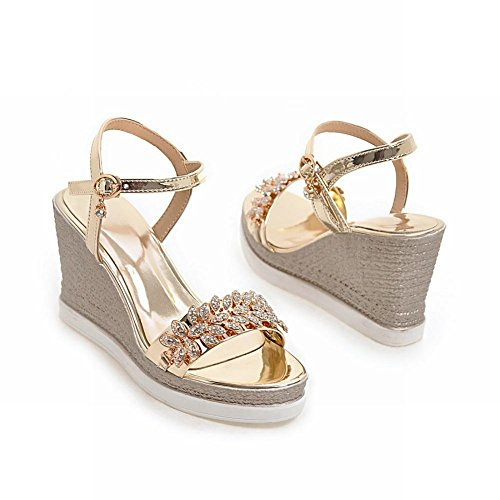 MissSaSa Femmes Sandales Compensé Bride Cheville Chaussures Plateformes Or