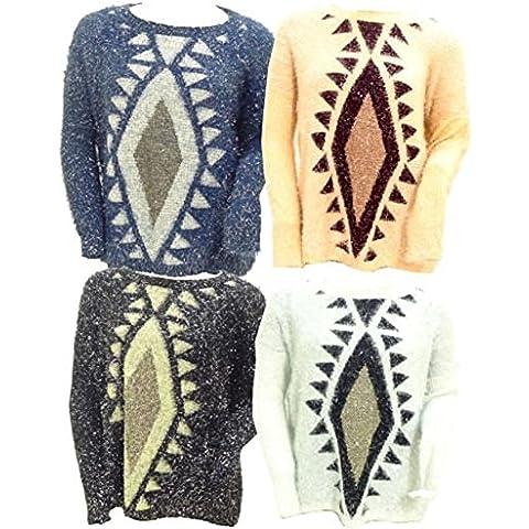 Delle signore delle donne Fluffy Mohair diamante Stampa Knit Jumper maglione di formato 8 10 12 14 16