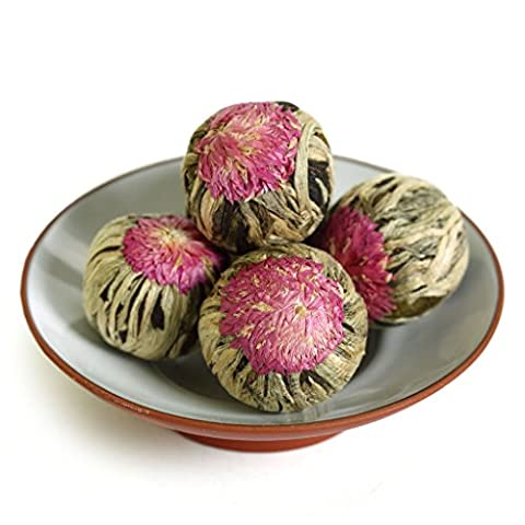 GOARTEA 24Pcs Natural Handmade Blooming Flowering Flower Artistic Chinese Green Tea Ball VERT