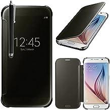 Samsung Galaxy S6 SM-G920F Funda HCN PHONE Caso De Shell Claro Vista Carcasa Inteligente para Samsung Galaxy s6 SM-G920F - NEGRO + lápiz óptico