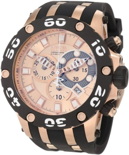 Invicta Men's 0919 Subaqua Reserve Chronograph Rose Dial Black Polyurethane Watch image
