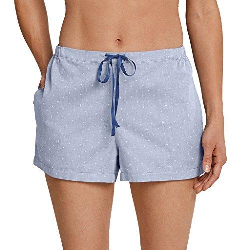 Schiesser Damen Schlafanzug Mix & Relax - frei kombinierbar - Hose kurz oder lang - Shirt Kurzarm oder Langarm (42, Hose kurz - blau gepunktet)