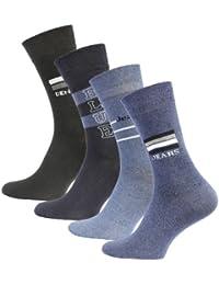 Lot de 8 paires de chaussettes - coton et élasthanne - aspect jean - forme ajustée - homme