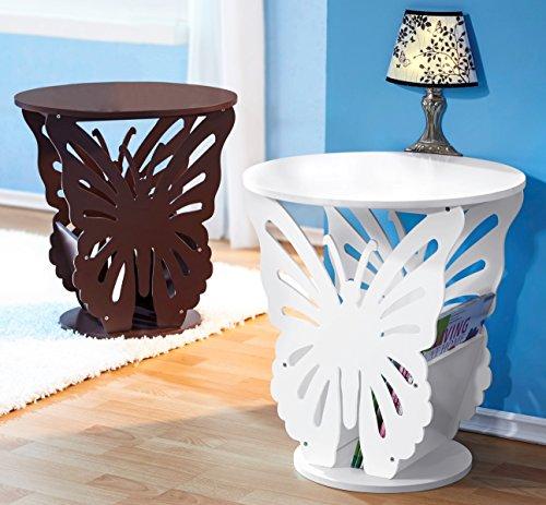 """Formschöner Beistelltisch """"Schmetterling"""" in weiß mit praktischem Stauraum für Zeitungen, Zeitschriften, Kataloge etc"""