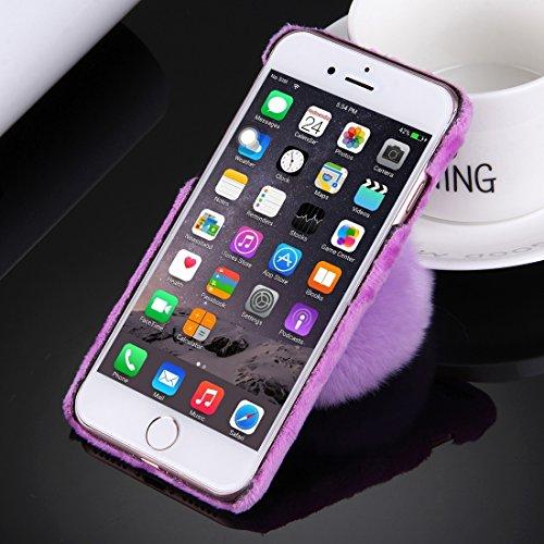 GHC Cases & Covers, Für iPhone 6 & 6s Plüsch Stoffabdeckung PC Schutzhülle mit Pelzkugel Kettenanhänger ( Color : Magenta ) Purple