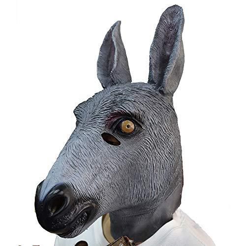 MASCARELLO Neuheit Esel Maske Tierkopf Latex Maske Erwachsene gruselig Halloween Karneval Kostüm Cosplay Party Esel Tier Maske