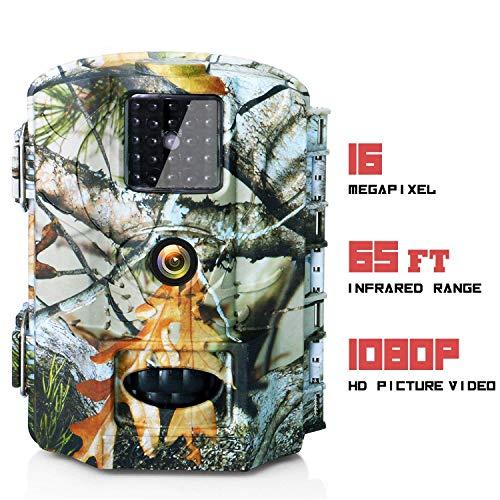 Olymbros Fotocamera Caccia 1080P 16MP Infrarossi Invisibili Movimento Attivato 0.6s 110° Visione Notturna Schermo IP65 Camera Caccia Sorveglianza Sicurezza Domestica Sorveglianza