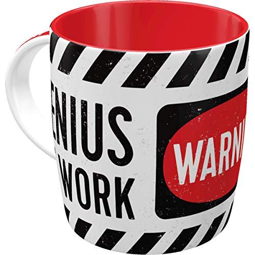 Nostalgic-Art 43030 Retro Kaffee-Becher Genius at Work, Lustige große Tasse mit Spruch, Geschenk-Idee für Vintage-Liebhaber, 330 ml