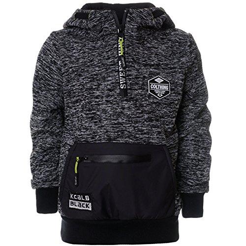 Jungen Winter Pullover Schalkragen Zipper 21674, Farbe:Grau, Größe:128