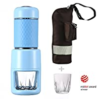 Staresso Portable Manual Coffee Machine with Espresso Coffee Capsules Cappuccino Quick Cold Brew All-in-One for Home Office Travel Outdoor Camping (Blue+Bag)