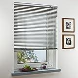 OBI Alu-Jalousie Burgos Aluminiumjalousie Jalousette Innenjalousie Fenstervorhang Aluminiumlamellen | Silber | 100 x 160 cm