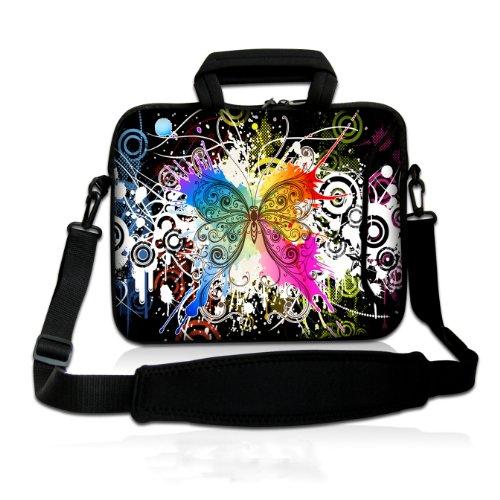 wortek Universal Notebook Tasche aus Neopren mit Zusatzfach, Tragegriff und Tragegurt für Notebooks bis ca. 17,3 Zoll - Schmetterling Bunt
