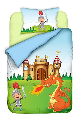 Preisvergleich Produktbild Aminata Kids - süße Kinderbettwäsche Bettwäsche Kinder Ritter 100x135 cm KINDERBETTGRÖSSE Baumwolle Ritter Jungen Drache Ritterburg bunt