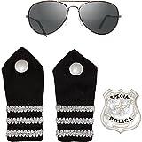 Polizei Polizist Police Set 4 teilig Brille Schulterklappen und Patch