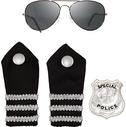 Preisvergleich Produktbild Polizei Polizist Police Set 4 teilig Brille Schulterklappen und Patch