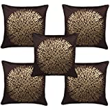 Freely Coffee Color Gold Print Flower Velvet Cushion Cover (16X16 Inches) - Pack of 5