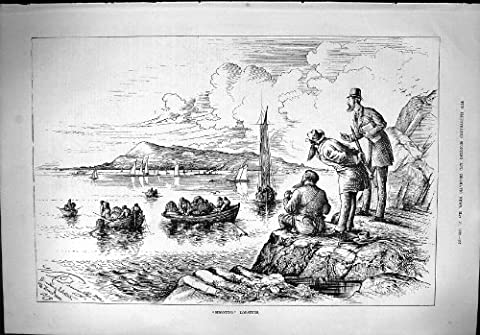 Old Original Antique Victorian Print 1879 Shooting Lobsters Fishing Creels Boats Howth Head 197J411
