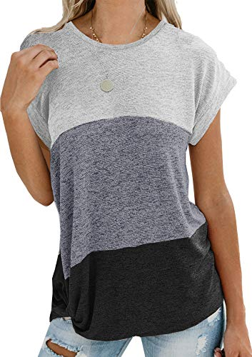 Yidarton Damen Kurzarm T-Shirt Casual Patchwork Sommer Lose Shirt Asymmetrisch Oversize Oberteile (Weiß&Schwarz, m)