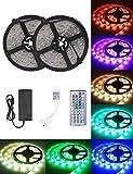 LED Streifen Licht, 10m Wasserfestes LED-Strip-Kit mit 300 SMD 5050 RGB-LEDS 44-Tasten-Infrarot-Fernbedienung 12V DC Netzteil und Verbinder für Weihnachten Feiertage Heim Küche Auto Dekoration