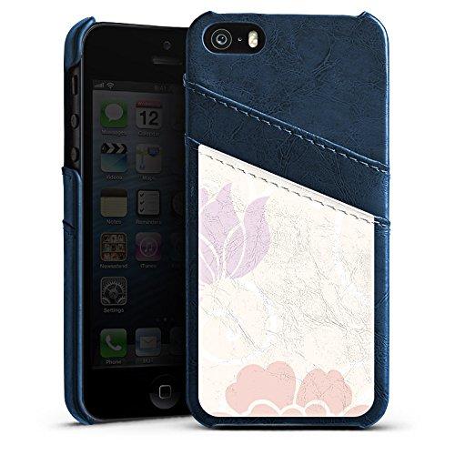 Apple iPhone 5s Housse Étui Protection Coque Fleur Fleurs Fleurs Étui en cuir bleu marine