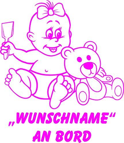 INDIGOS UG - Babyaufkleber / Kinderaufkleber 090 mit Wunschname / Wunschtext an Bord ca. 20 cm Höhe - Autoaufkleber in verschiedenen Farben