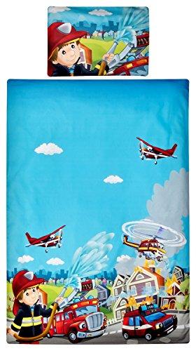 Aminata Kids Kinder-Bettwäsche 100-x-135 cm Feuerwehrauto Feuerwehr-Mann Baby-Bettwäsche 100-% Baumwolle Renforce hell-blau rot-er Junge-n